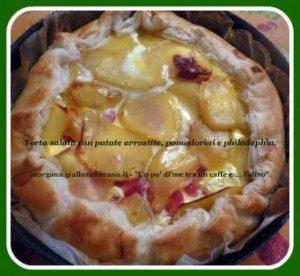 Torta salata con patate gratin, pomodorini e philadelphia
