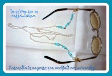 Catenella per occhiali in argento con swarosky e scatolina decorata